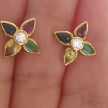 Fine Estate Multi-Gem Diamond Stud Earrings 14k Solid Gold Flower Motif Earrings Sapphire Emerald Ruby