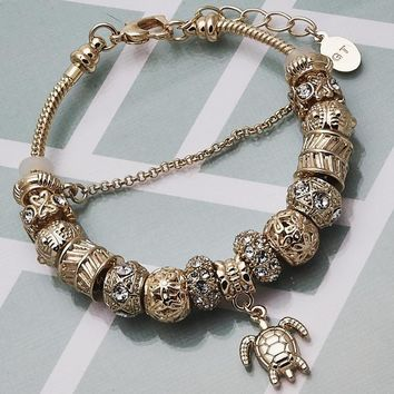 Gold Layered Women Turtle Charm Bracelet, with White Crystal, by Folks Jewelry