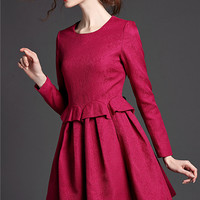 Long Sleeve A-Line Mini Skater Dress