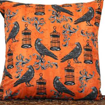 Ravens Halloween Pillow Cover Cushion Script Birdcage Halloween Decor Decorative Black Orange 18x18