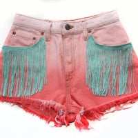 Vintage High Waisted Ombre Dip Dyed Fringe Denim Shorts
