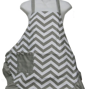 Gray and White Chevron with Gray Trim Ruffled Apron Women Adult Personalized Monogram