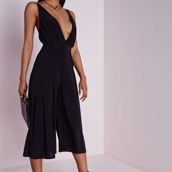 64e3581005c SLINKY STRAPPY CULOTTE JUMPSUIT BLACK from MISSGUIDED