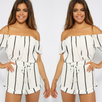 HOT OFF SHOULDER STRIPE ROMPER