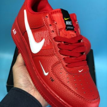 QIYIYF Nike Air Force 1 AF1 Lv8 Utility R Off White Low Casual Skate Shoes Red