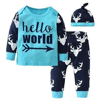 Newborn Christmas Baby Boys Girls Clothing Set Long sleeve Letter Tops+Deer Head Pants and Hat Infant 3pcs Toddler Clothes