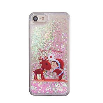 iPhone 6 Merry Christmas Case,iPhone 6S Sparkly Clear Shockproof Case,Gostyle Fashion Cute [Xmas Deer Child Pattern ] Bling Glitter Liquid Floating Love Heart Dynamic Moving Hard Shell Cover.