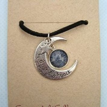 Silver-Tone Starry Night Glitter Glass I Love You to the Moon and Back Star Charm Pendant Necklace Black Faux Suede Cord