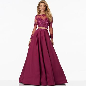 Two Pieces Prom Dresses Vnaix Long Sleeves with Lace Appliques Satin A Line Prom Dress Formal Party Evening Dress