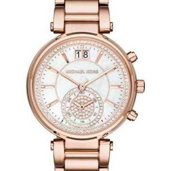 DCCKHB3 MICHAEL Michael Kors | Women's Sawyer Rose Gold-Tone Bracelet Watch