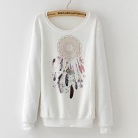 2017 Fall Winter Clothes Korean Sweatshirts Women Coral Velvet Dreamcatcher printing Fleece Sweatshirt Women Harajuku