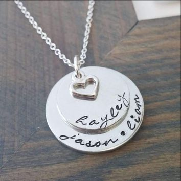 Personalized Necklace with Hand Stamped Names