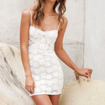 Love Me Tender Ivory Lace Bustier Dress