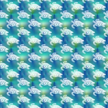 Sea Turtles Swim on Blue Aqua Sea - 13moons_design - Spoonflower