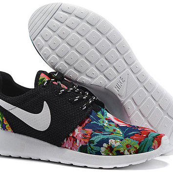 custom nike roshe run sneakers athletic sport shoes dark blue color with fabric floral print,crystal swarovski or both