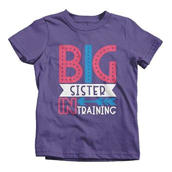 Girl's Big Sister in Training T-Shirt Promoted Shirt Baby Announcement