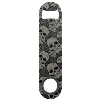 Sugar Skull Crossbones Pattern Bar Key