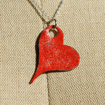 Gothic enameled hearts series - Speckled red heart pendant