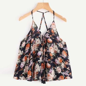 Black Cotton Floral Print Camis