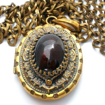 Gold Filled Locket Necklace with Red Cabochon Stone