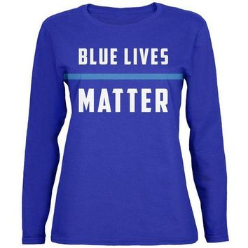 PEAPGQ9 Police Blue Lives Matter Thin Blue Line Womens Long Sleeve T Shirt