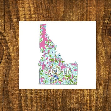 LILLY PULITZER Idaho Home Decal | Idaho State Decal | Homestate Decals | Love Sticker | Love Decal  | Decal | Car Stickers | Bumper | 104