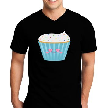 Cute Cupcake with Sprinkles - Heart Eyes Adult Dark V-Neck T-Shirt by TooLoud