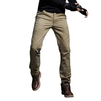 Mens Outdoor Cotton Cargo Pants Wear-resistant Casual Sport Straight Trousers
