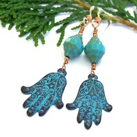 Hamsa Hand of Fatima Handmade Earrings Turquoise Greek Mykonos Jewelry
