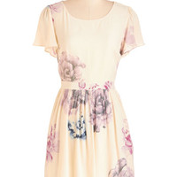 ModCloth Pastel Mid-length Short Sleeves A-line Peonies, Please Dress