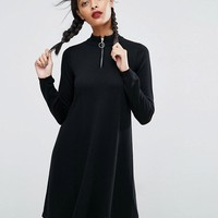ASOS Knitted Swing Dress With Zip Neck at asos.com