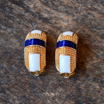 Vintage Ciner David Hill Clip On Earrings Cream Blue Enamel Half Hoop Textured Gold Tone Nautical 1980's // Vintage Designer Costume Jewelry
