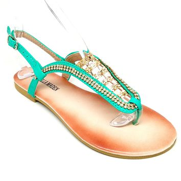 Women's Teal Sandal with Rhinestones and Glitter