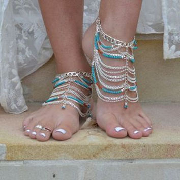 Ladies New Arrival Cute Stylish Jewelry Sexy Shiny Gift Vintage Bohemia Turquoise Chain Tassels Anklet [7240985543]