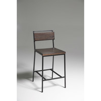 Modern 30-inch Bar Stool in Matte Black Metal with Cherry Finish Wood Seat