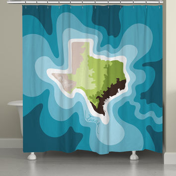 Texas Abstract Map Shower Curtain