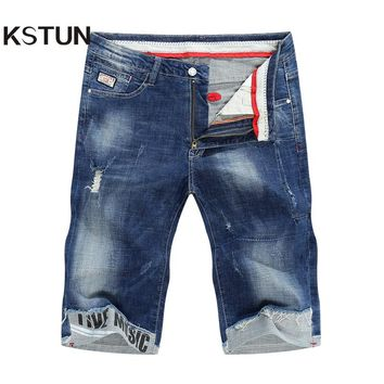 KSTUN Men's Denim Shorts Jeans 2018 Summer Thin Super Stretch Blue Ripped Biker Slim Jeans Men Skinny Cuffs Male Vaqueros Hombre