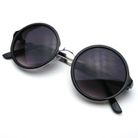 Classic Round Retro Circle Metal Bridge BoHo Sunglasses