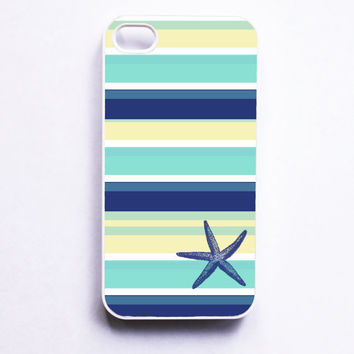 Nautical iPhone 4 Case - Seaside Stripe Starfish