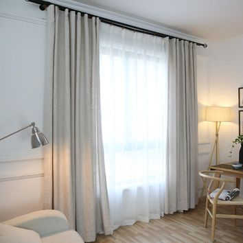 Classic green dyeing solid linen window curtains for home modern style