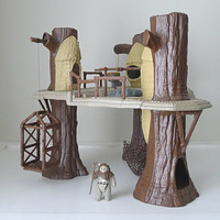 Vintage Star Wars Toy / Playset, Ewok Village with Ewok Action Figure, 1983, Return of the Jedi - gift for him, sci fi