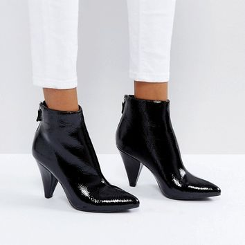 New Look Black Patent Cone Heel Pointed Ankle Boot at asos.com