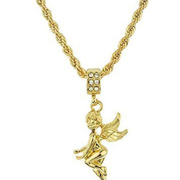 Cherub Pendant with a 24 Inch 4mm Rope Chain Necklace (Goldtone)