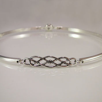 Sterling Silver Discreet Day Collar w/ Celtic Knot & Locking Allen Key Clasp - Sized to Order