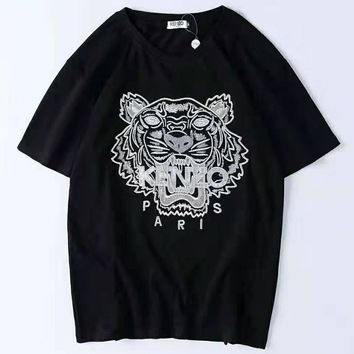Kenzo new tide brand embroidery tiger head men and women models wild casual half-sleeved shirt black