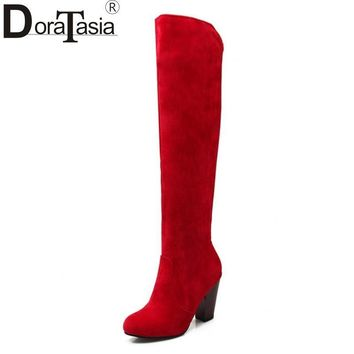 Large size 34-43 2017 New Knee High Boots Sexy Chunky High Heels Spring Autumn Shoes W