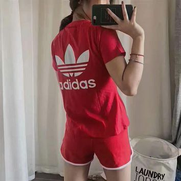 adidas women stripe print short sleeve top shorts sweatpants set two piece sportswear-2
