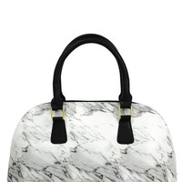 White Marble Bowler Insulated Cooler Lunch Handbag - LAST ONE!