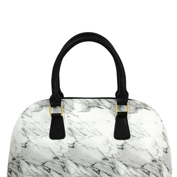 White Marble Bowler Insulated Lunch Handbag