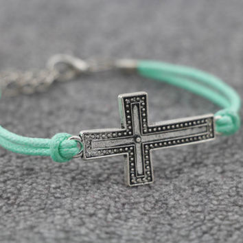 Antiqued Silver Sideway Cross Bracelet, Infinity Bracelet, Mint Green Wax Cords, Personalized Bridesmaid Jewelry, Friendship Graduation Gift